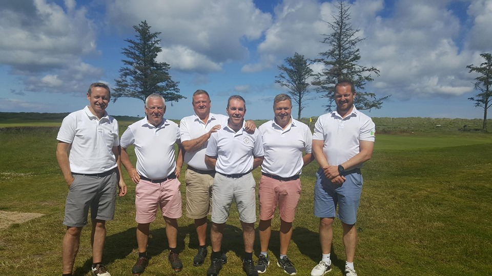 Newman and the Wrag Barn Golf Club guys
